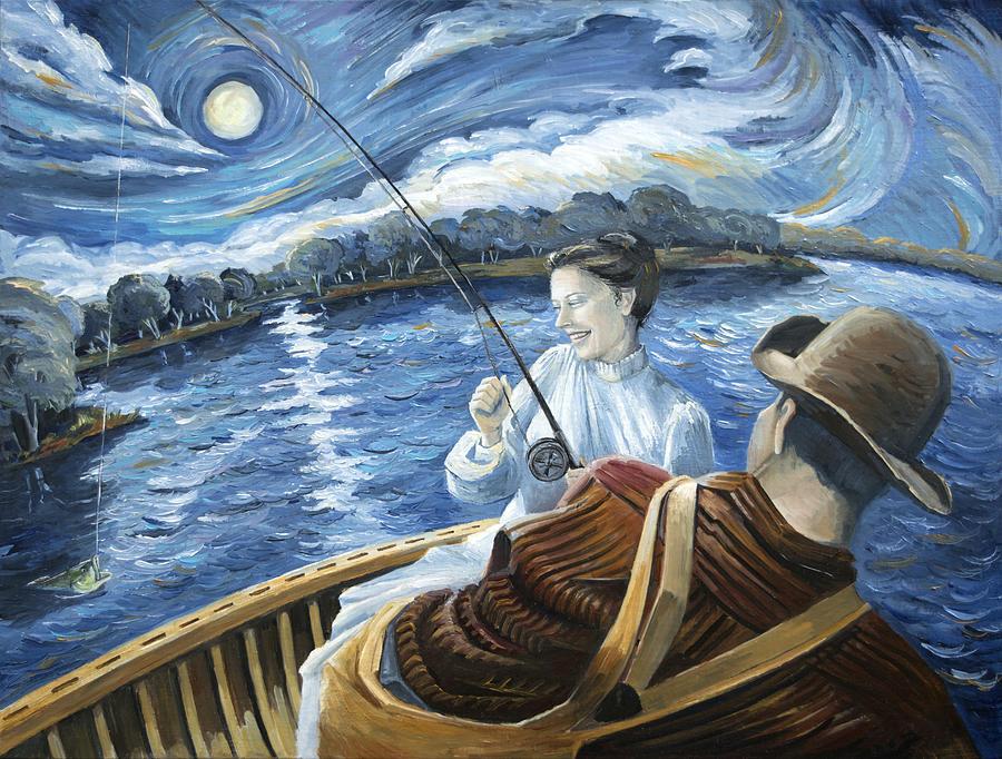 Woman Fishing Painting - Midnight On The Water by Paula McHugh