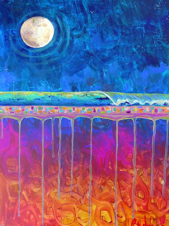 Abstract Surf Painting - Midnight Run by Dawn Gray Moraga