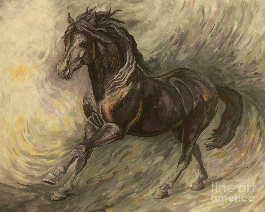 Horse Painting - Midnight by Silvana Gabudean Dobre