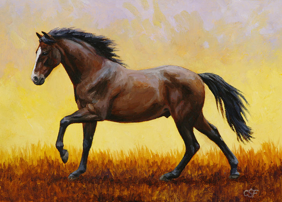 Horse Painting - Midnight Sun by Crista Forest