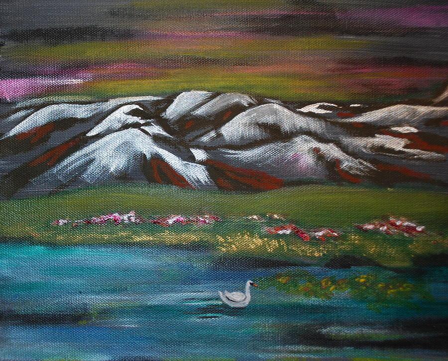 Midnight Swan Painting