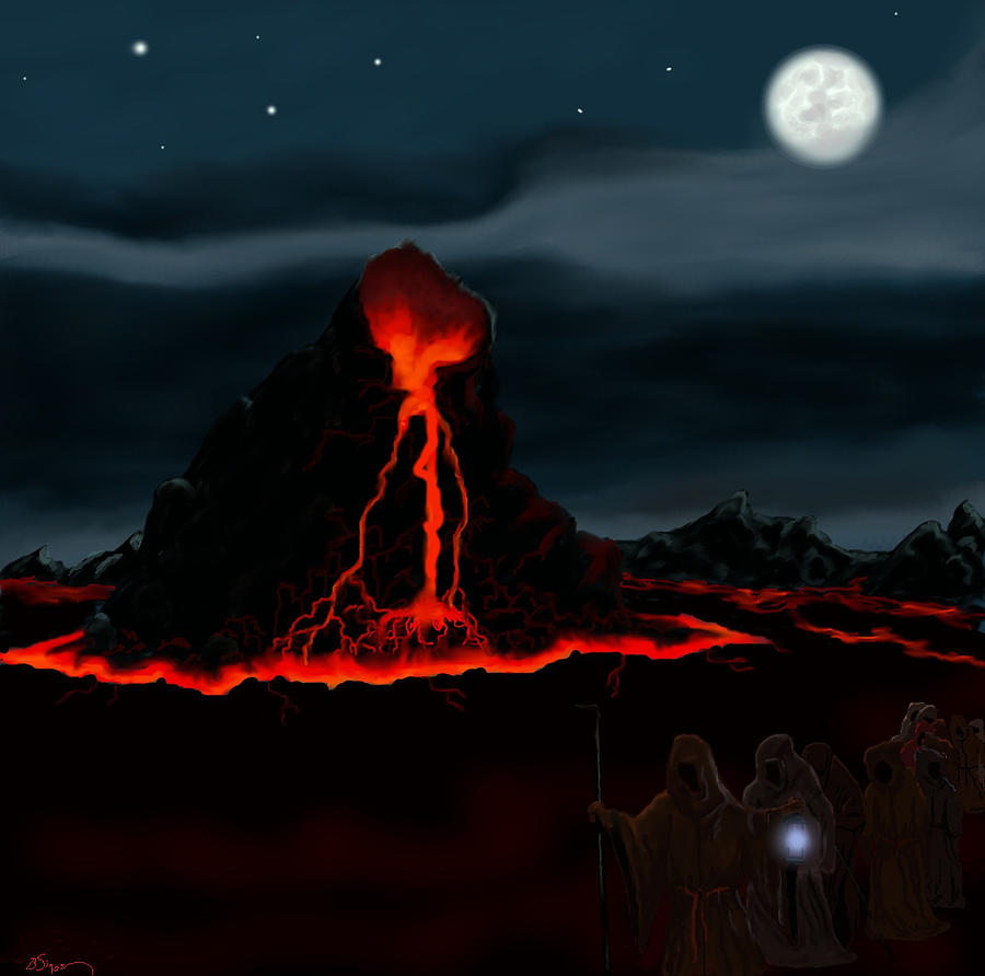 Fantasy Digital Art - Midnight Volcano by Brad Simpson
