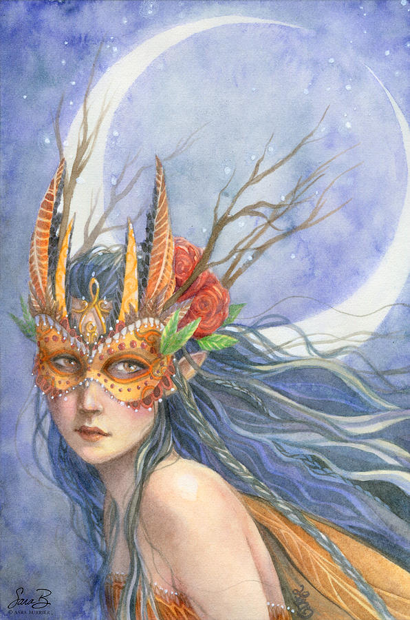Fairy Painting - Midnight Warrior by Sara Burrier