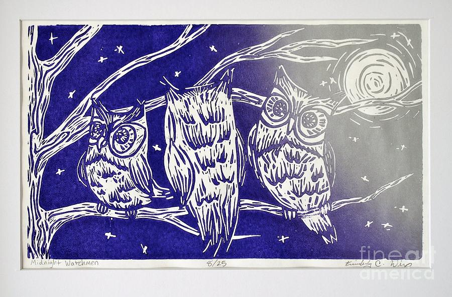 Owl Mixed Media - Midnight Watchmen by Kimberly Wix
