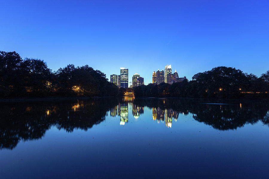 Midtown Atlanta Reflected In The Lake Photograph by Moreiso