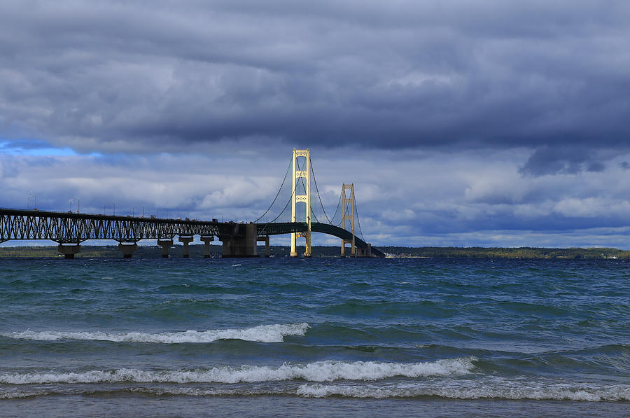Mackinac Bridge Photograph - Mighty Mack Bridge by Rachel Cohen
