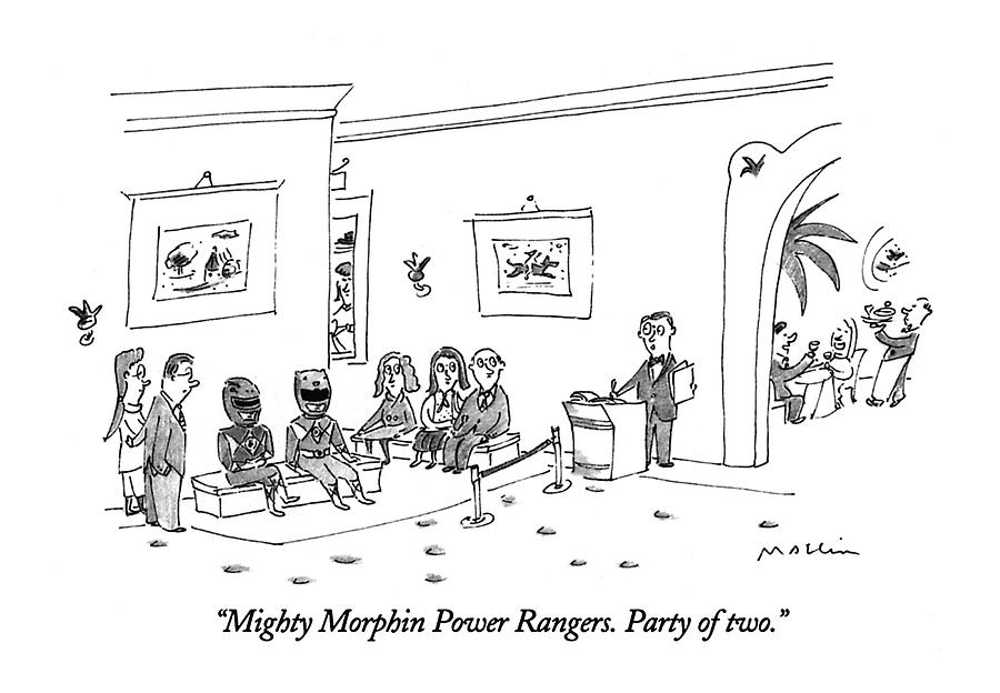 Mighty Morphin Power Rangers.  Party Of Two Drawing by Michael Maslin