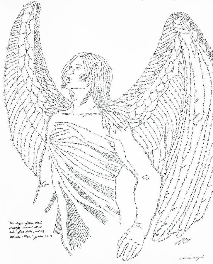 Mighty Warrior Angel Drawing - Mighty Warrior Angel by Lorraine Foster