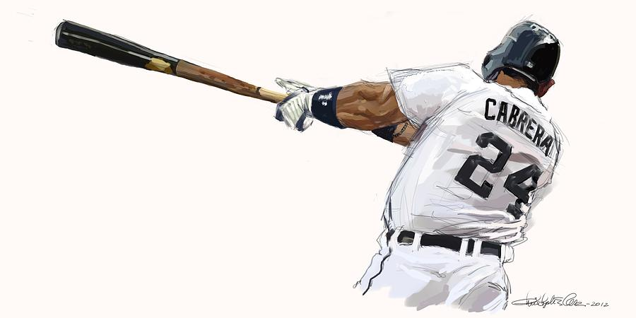 Baseball Painting - Miguel Cabrera Mash by Chris Ross