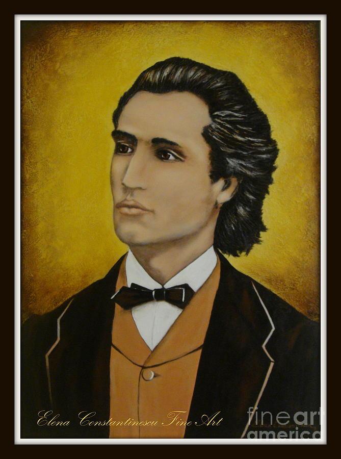 Portrait Painting - Mihai Eminescu  by Elena  Constantinescu