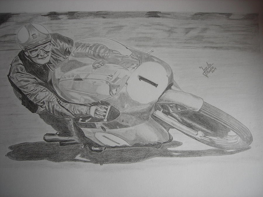 Motor Drawing - Mike Hailwood by Jose Mendez