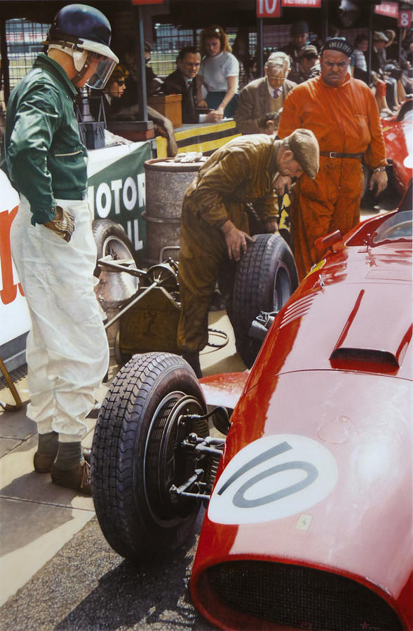 Mike Painting - Mike Hawthorn Ferrari 801  Aintree 1957 by Alberto Ponno