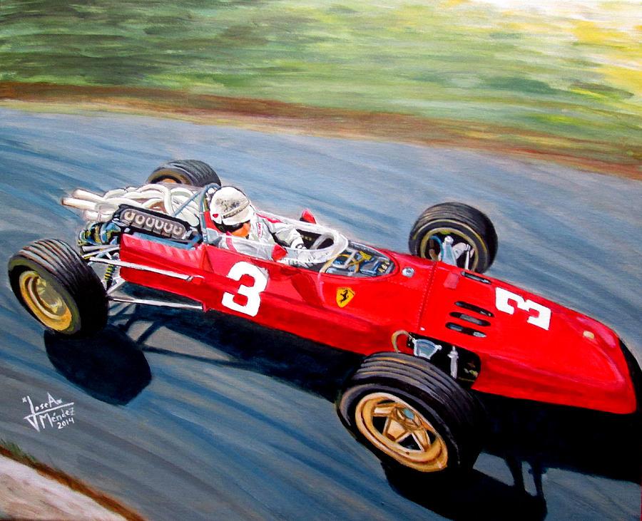 Ferrari 312 Painting - Mike Parkes by Jose Mendez
