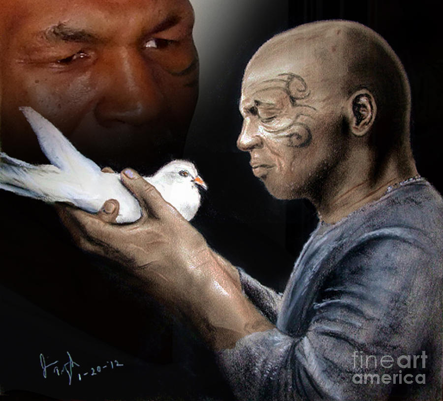 Drawing Mixed Media - Mike Tyson And Pigeon II by Jim Fitzpatrick