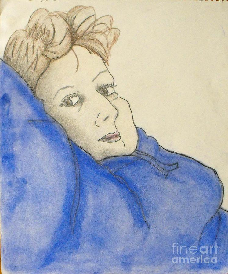 Drawing Mixed Media - Mikki In Blue by Catherine Ratliff