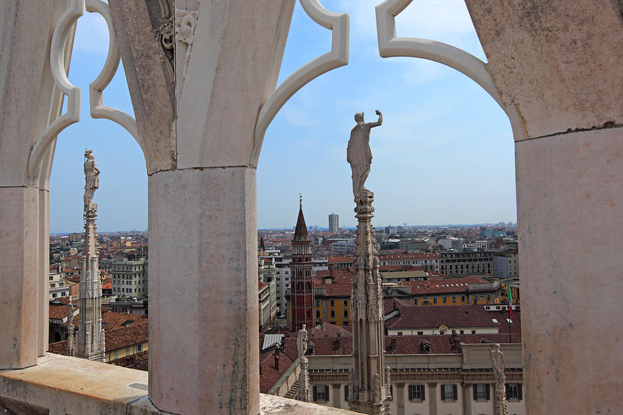 Italy Photograph - Milan Cathedral Rooftop View by Susan Rovira