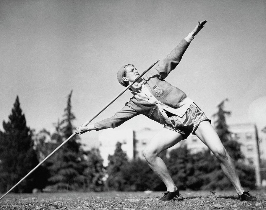 Mildred Babe Didrikson Holding A Javelin Photograph by Acme