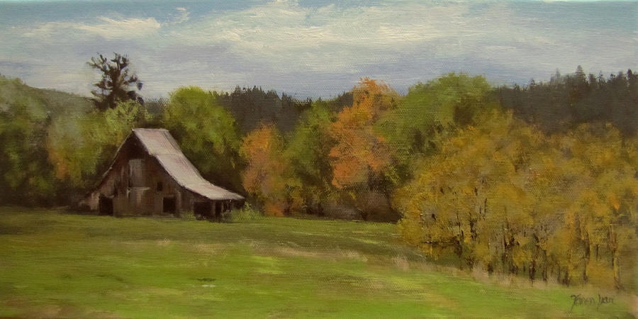 Barn Painting - Mildred Kanipe Equestrian Park by Karen Ilari
