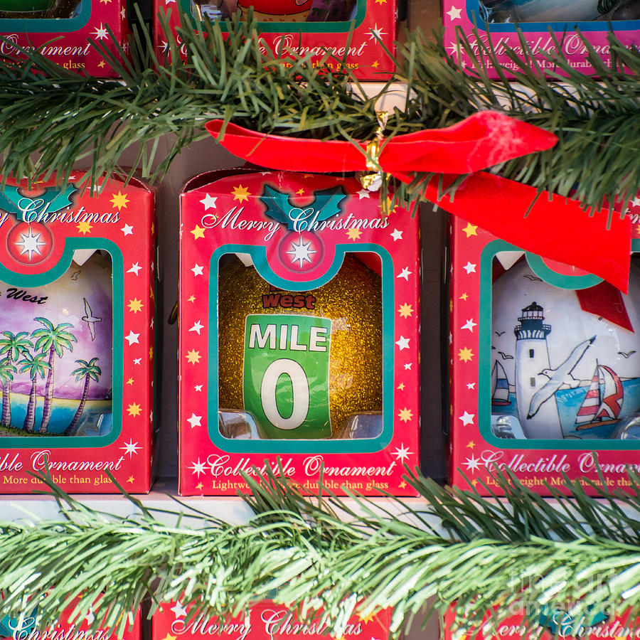 Mile Marker 0 Christmas Decorations Key West - Square Photograph by ...