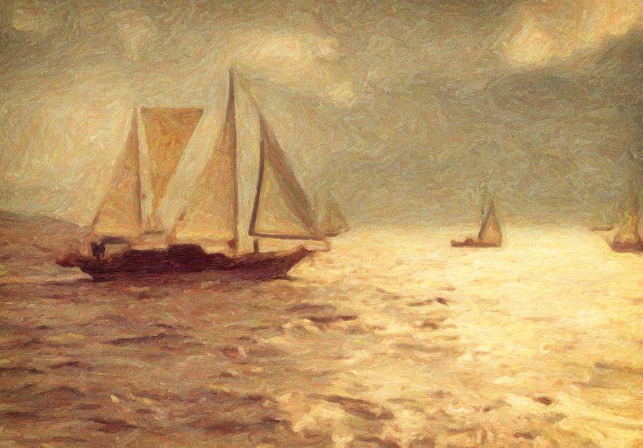 Sailing Painting - Miles Away by Taylan Apukovska