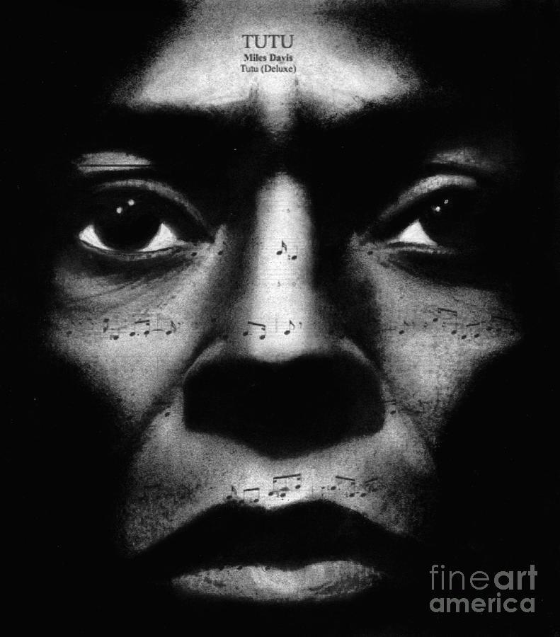 Miles Davis Tutu Drawing By Michael Cross