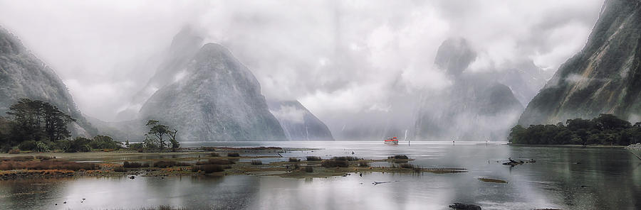 Milford Sound In Mist Panorama Photograph by Dan Goodwin