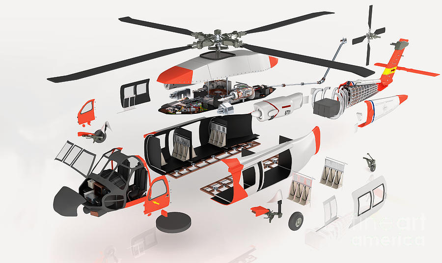 Military Helicopter Exploded View Photograph By Nikid