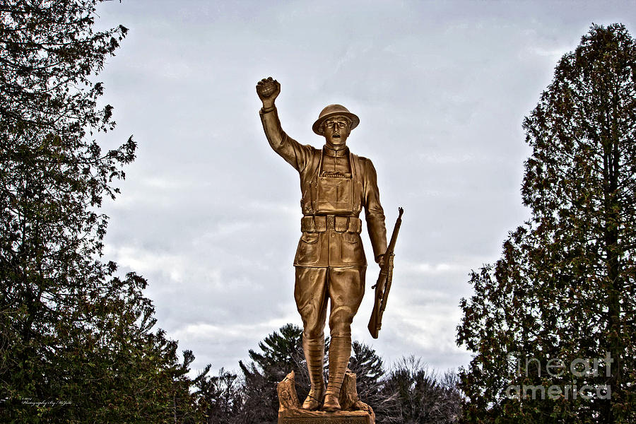 Hdr Photograph - Military Soldier Memorial by Ms Judi
