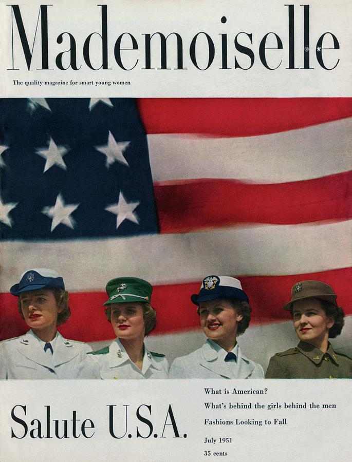 Military Women In Front Of A Us Flag Photograph by Herman Landshoff