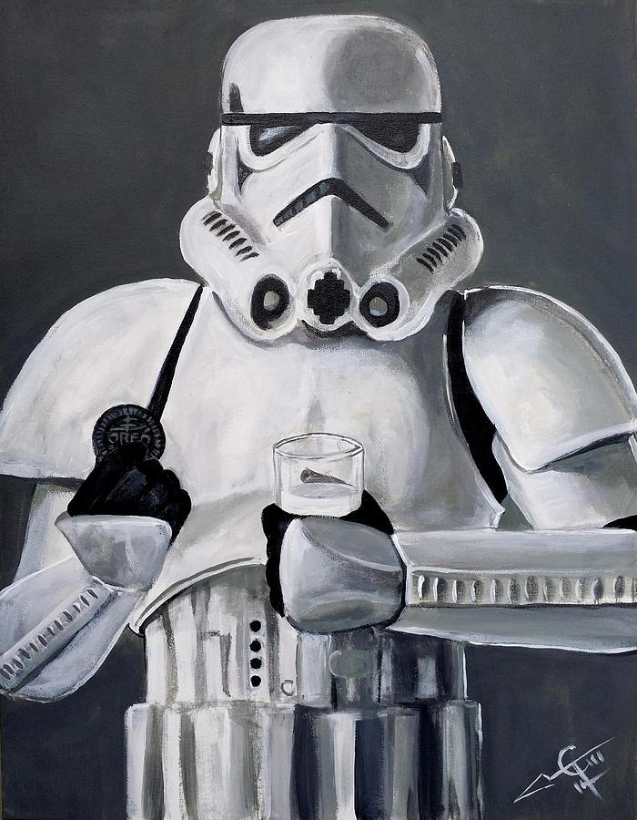 Stormtrooper Painting - Milk And Cookies by Tom Carlton
