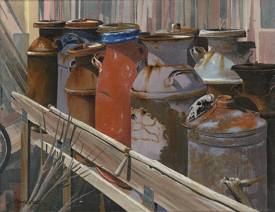 Old Painting - Milk Cans by John Wyckoff