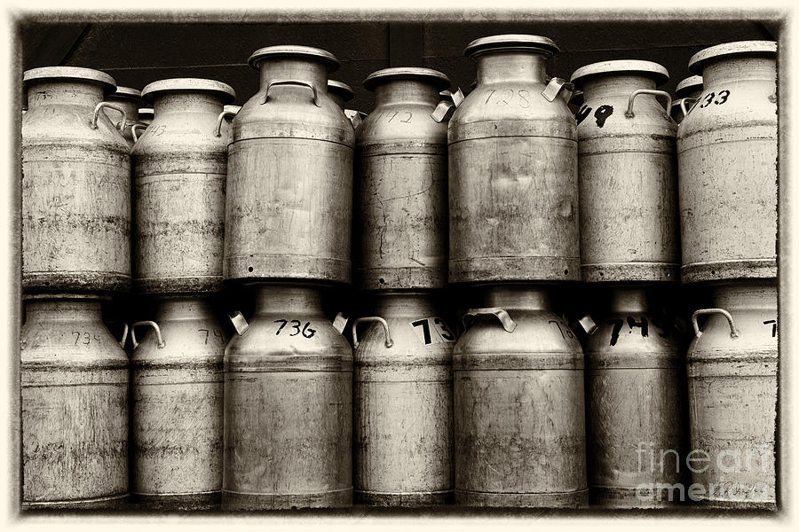 Milk Photograph - Milk Containers Sepia by Iris Richardson