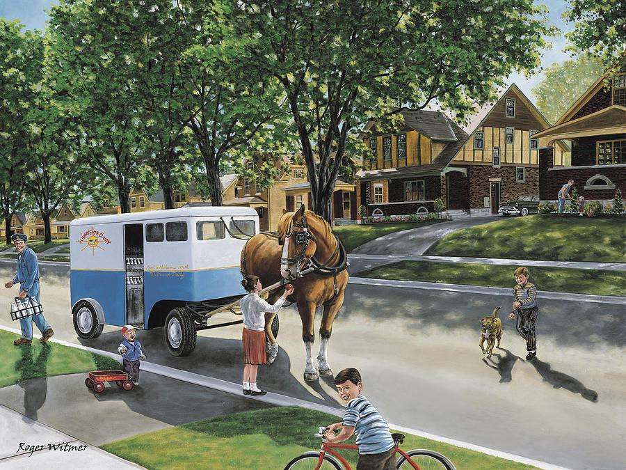 Milkman Painting - Milk Man by Roger Witmer