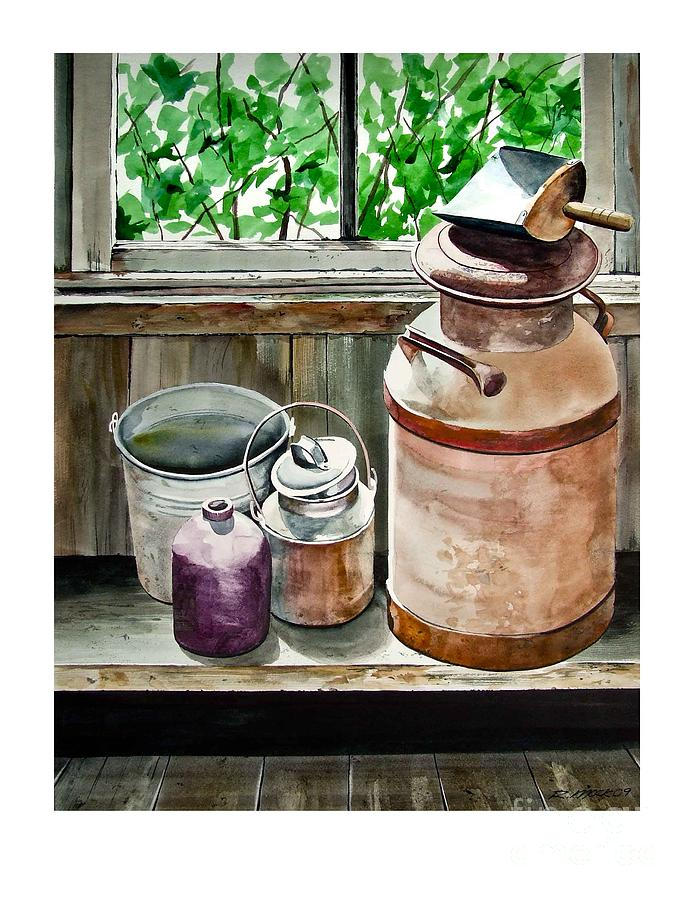 Stillife Painting - Milkcans by Rick Mock