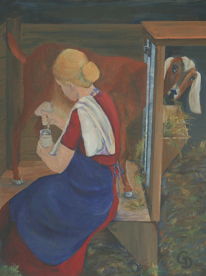 Goats Painting - Milkmaid by Gail Daley