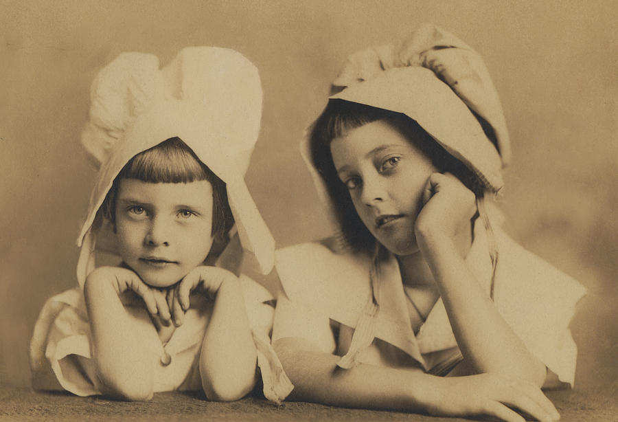 Cabinet Card Photograph - Milkmaid Sisters by Paul Ashby Antique Image