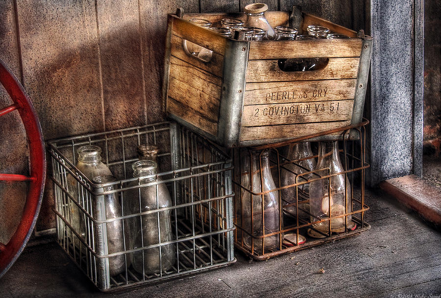 Savad Photograph - Milkman - Bottles In Boxes by Mike Savad