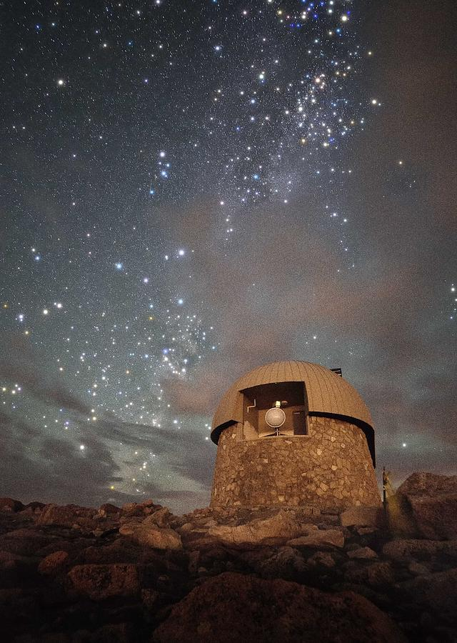 All Rights Reserved Photograph - Milky Way Clouds Over The Mount Evans Observatory by Mike Berenson