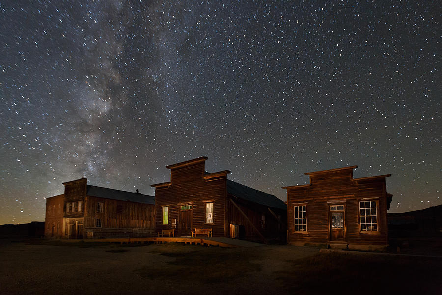 Bodie State Historic Park Photograph - Milky Way Over Downtown Bodie by Jeff Sullivan