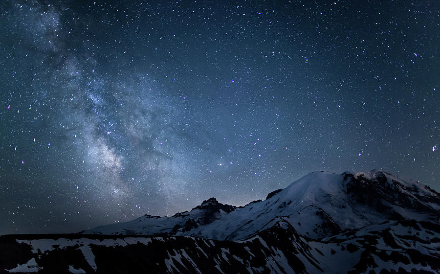 Milky Way Over Mount Rainier Photograph by Ed Leckert