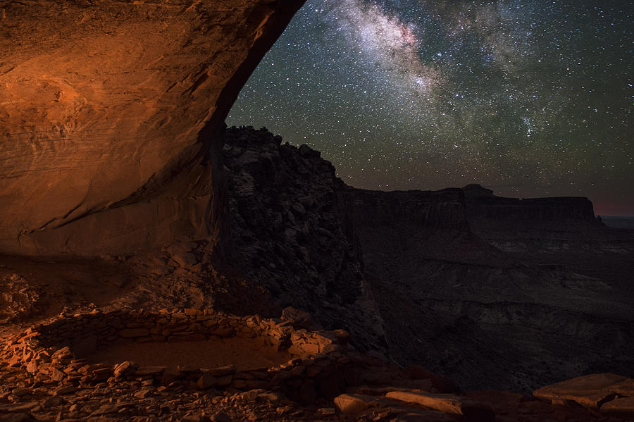 All Rights Reserved Photograph - Milky Way Skies From False Kiva by Mike Berenson
