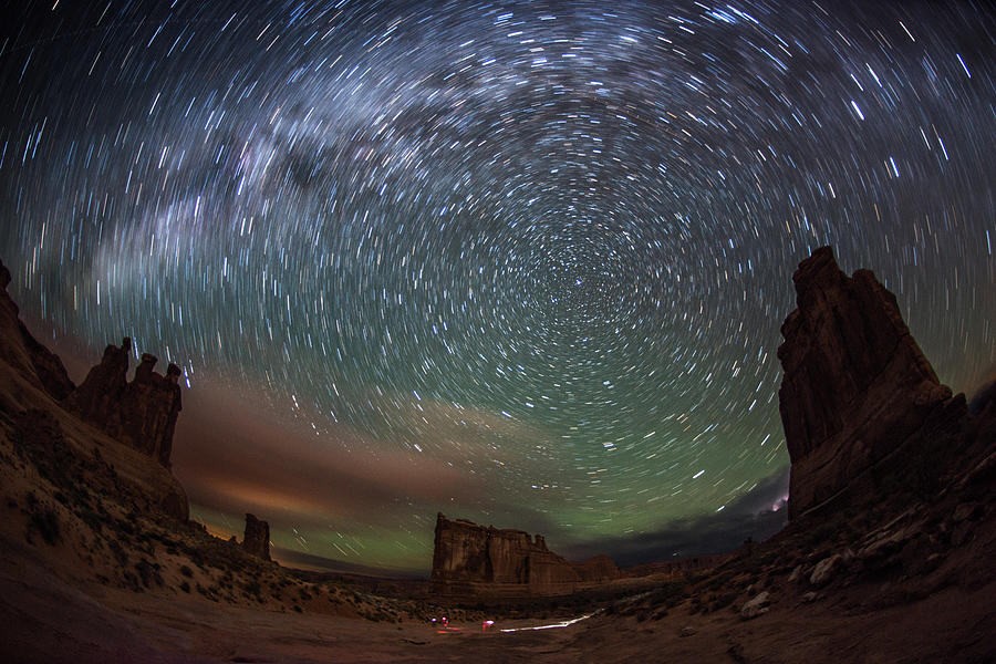 Milky Way Swirls Over Arches Park Avenue Photograph by Mike Berenson / Colorado Captures