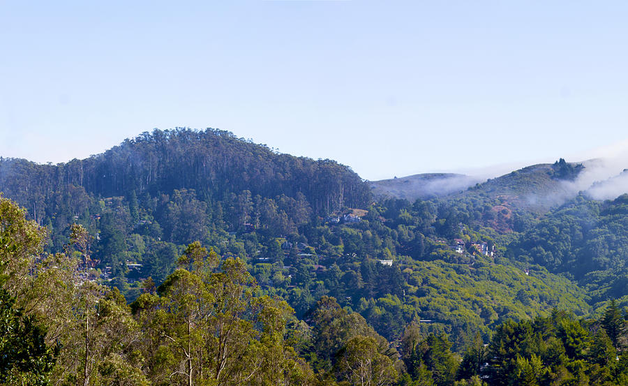 Hills Photograph - Mill Valley CA Hills with Fog coming in Left Panel by G Matthew Laughton