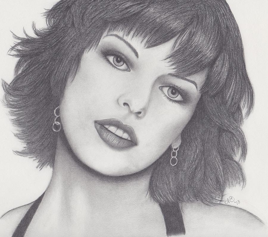 Milla Drawing - Milla Jovovich by Nancy Esposito