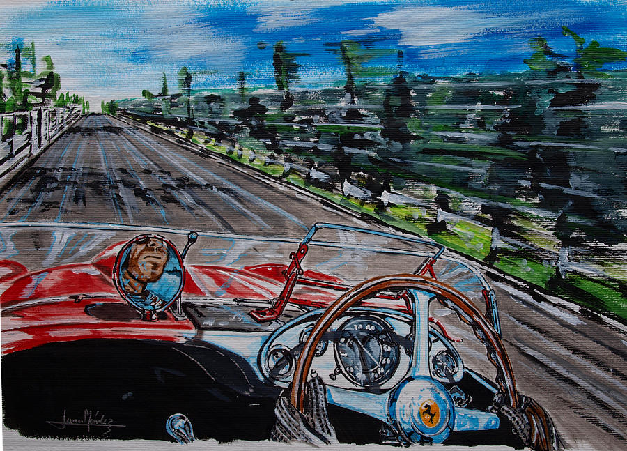 Peter Collins Painting - Mille Miglia On Board With Peter Collins by Juan Mendez