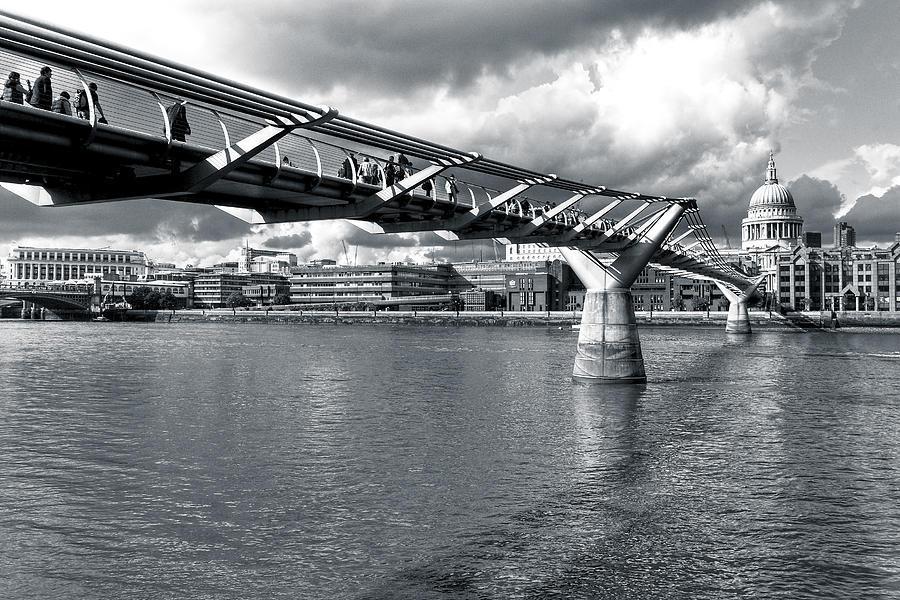 Millennium Bridge Photograph - Millennium Foot Bridge - London by Mark E Tisdale