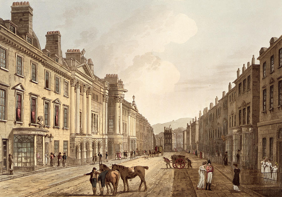 Print Drawing - Milsom Street, From Bath Illustrated by John Claude Nattes