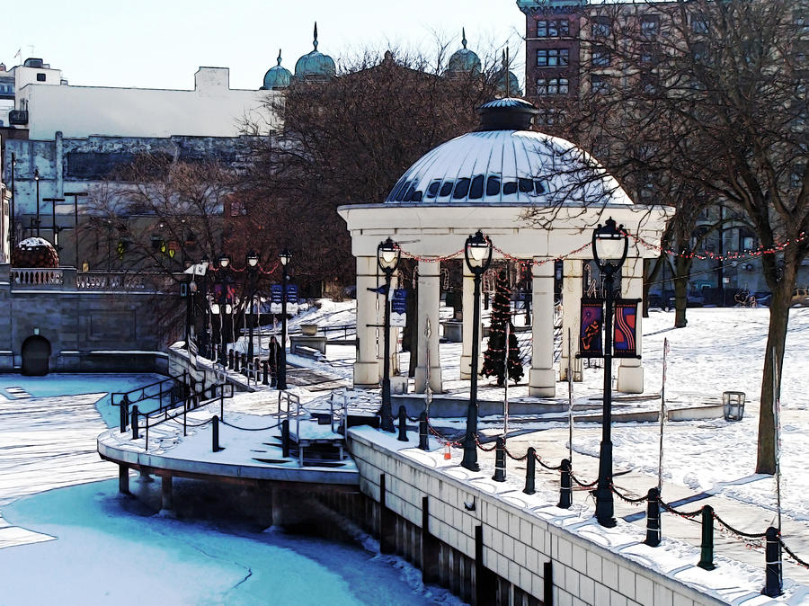 Milwaukee Digital Art - Milwaukee River Walk 3 - Pere Marquette Park - Winter 2013 by David Blank