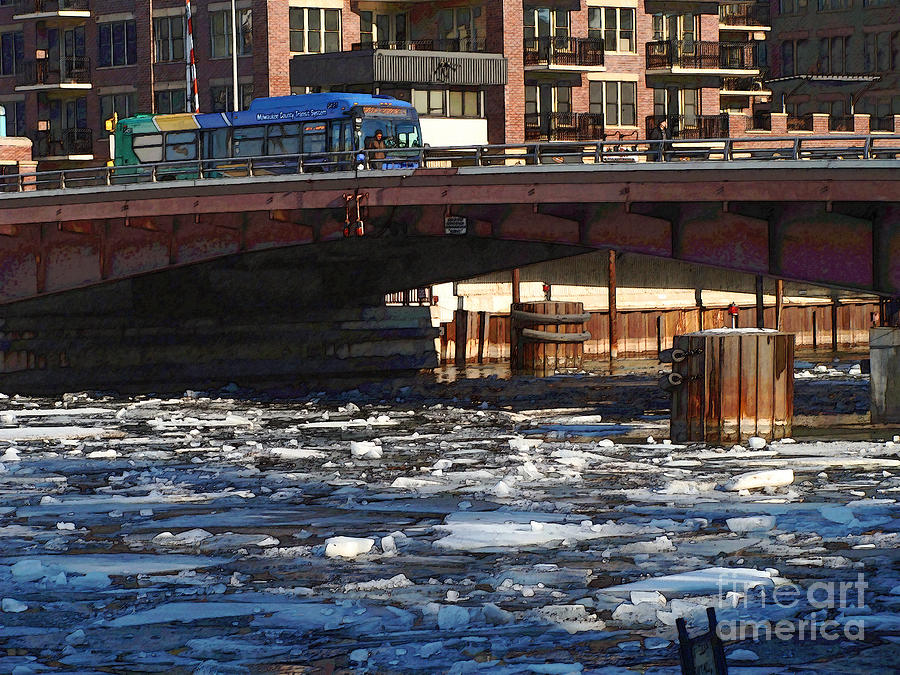 Milwaukee Digital Art - Milwaukee River - Winter 2014 by David Blank