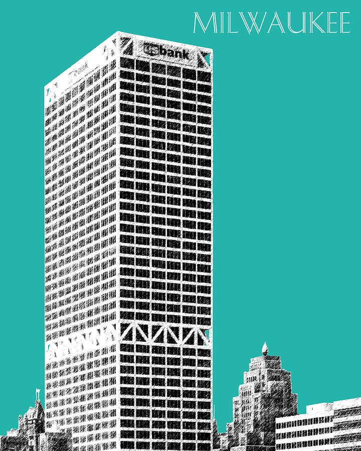 Milwaukee Skyline 1 - Teal Digital Art by DB Artist